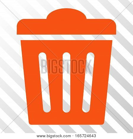 Orange Trash Can interface pictogram. Vector pictograph style is a flat symbol on diagonally hatched transparent background.