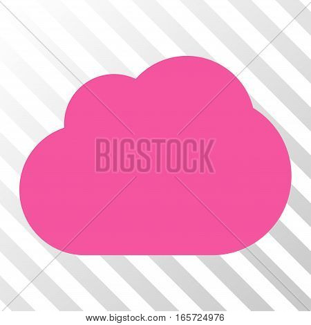 Pink Cloud interface toolbar pictogram. Vector pictograph style is a flat symbol on diagonal hatch transparent background.