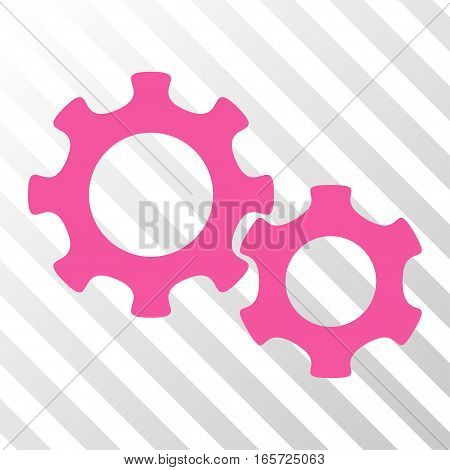 Pink Gears interface pictogram. Vector pictogram style is a flat symbol on diagonally hatched transparent background.