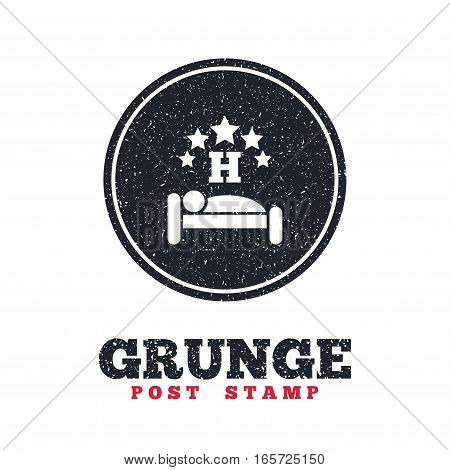 Grunge post stamp. Circle banner or label. Five star Hotel apartment sign icon. Travel rest place. Sleeper symbol. Dirty textured web button. Vector