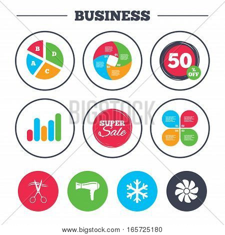 Business pie chart. Growth graph. Hotel services icons. Air conditioning, Hairdryer and Ventilation in room signs. Climate control. Hairdresser or barbershop symbol. Super sale and discount buttons