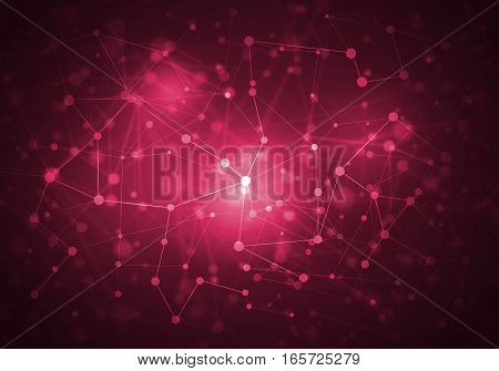 Abstract connection structure as connection concept on red color background