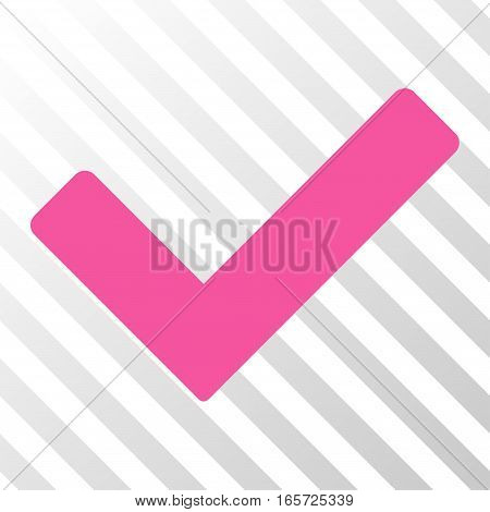 Pink Ok toolbar icon. Vector pictogram style is a flat symbol on diagonally hatched transparent background.