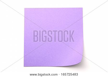Purple paper stick note on a white background