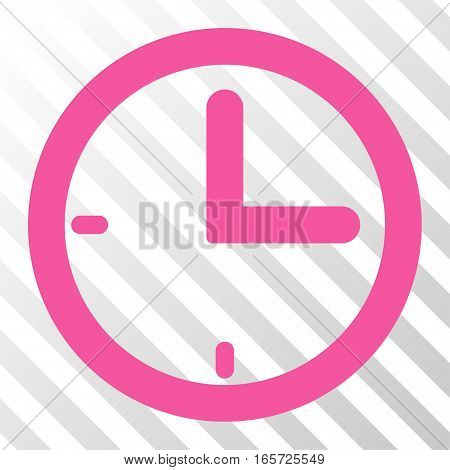 Pink Time interface icon. Vector pictograph style is a flat symbol on diagonal hatch transparent background.