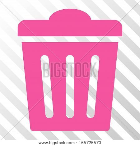 Pink Trash Can interface icon. Vector pictograph style is a flat symbol on diagonally hatched transparent background.
