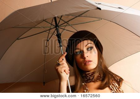 Glamour Girl With Umbrella. Fashion Photo