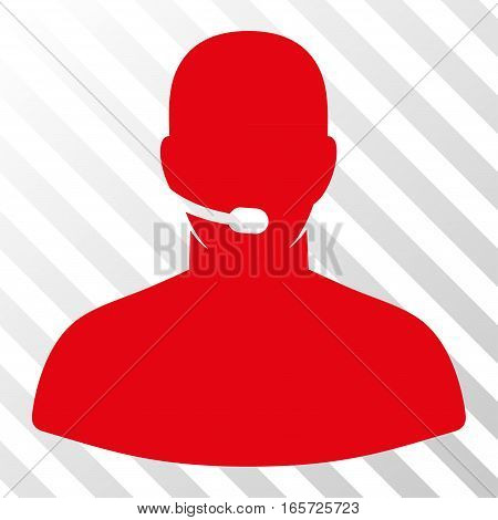 Red Call Center Operator interface toolbar icon. Vector pictograph style is a flat symbol on diagonally hatched transparent background.