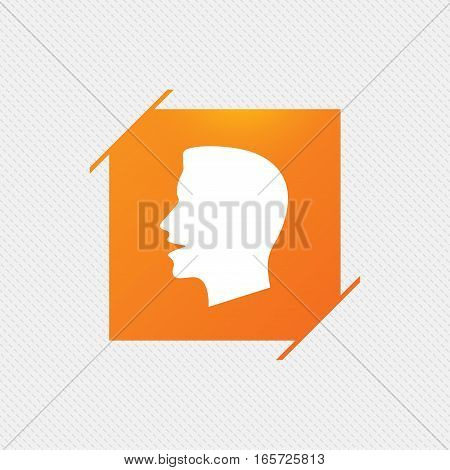 Talk or speak icon. Loud noise symbol. Human talking sign. Orange square label on pattern. Vector