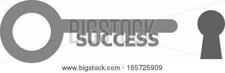 Vector illustration of grey success key and keyhole.