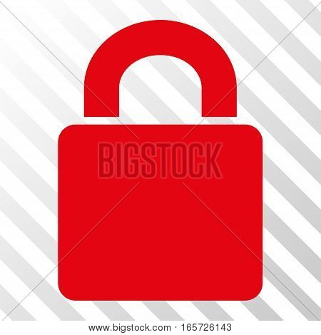 Red Lock toolbar pictogram. Vector pictograph style is a flat symbol on diagonally hatched transparent background.