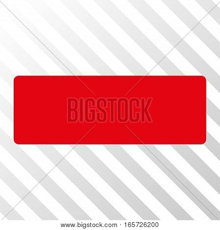 Red Minus interface toolbar pictogram. Vector pictogram style is a flat symbol on diagonally hatched transparent background.