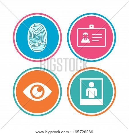 Identity ID card badge icons. Eye and fingerprint symbols. Authentication signs. Photo frame with human person. Colored circle buttons. Vector