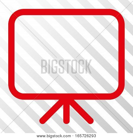 Red Presentation Screen interface icon. Vector pictograph style is a flat symbol on diagonal hatch transparent background.