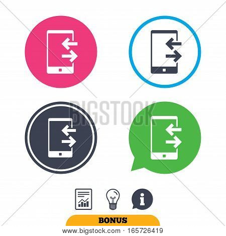 Incoming and outcoming calls sign icon. Smartphone symbol. Report document, information sign and light bulb icons. Vector