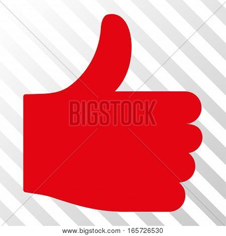 Red Thumb Up toolbar icon. Vector pictograph style is a flat symbol on diagonal hatch transparent background.