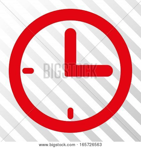 Red Time interface icon. Vector pictogram style is a flat symbol on diagonally hatched transparent background.