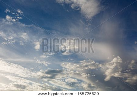 Cumulus clouds against a blue sky. Partly Cloudy. Weather forecast.