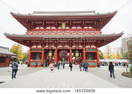 people go to Senso-ji temple during vacation taken in Asakusa Japan on 2 December 2016