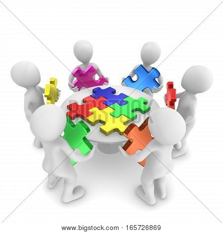 People with jigsaw puzzle teamwork concept. 3d rendered illustration.