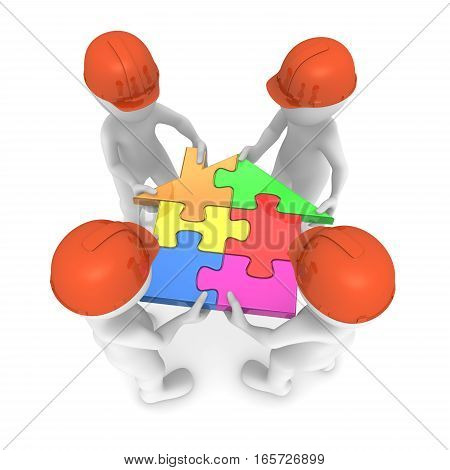 4 builders hold colored puzzle house. 3d small people. 3d rendered illustration.