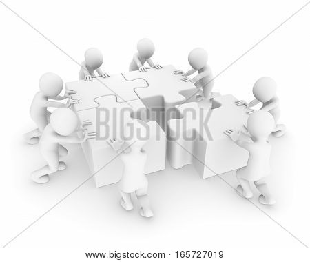 3d people working with jigsaw puzzle on white background
