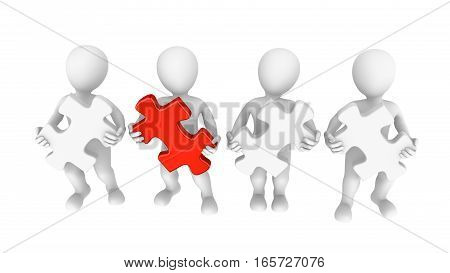 White people with jigsaw puzzle. Choice concept. 3d rendered illustration.