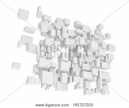 3d rendering of white square and rectangle blocks hanging vertically on white background. Abstract forms. Interconnected structure.