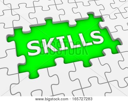 Skills - 3D Puzzle With White Word.