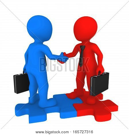 Business people shaking hands on puzzle. 3d rendered illustration.