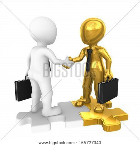 3D People Shaking Hands On Golden Puzzle