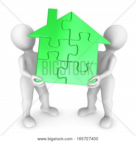 People Hold Green Puzzle House
