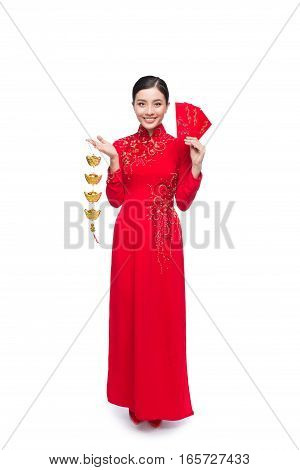 Beautiful Asian Woman Holding Red Pocket - Lucky Money. Tet Holiday. Lunar New Year. Text Mean Happi