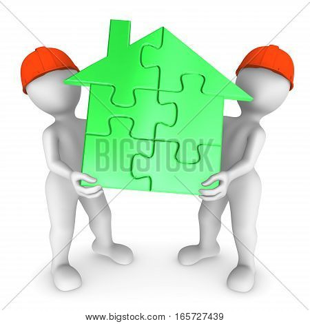 2 Workers Hold Green Puzzle House. 3D Small People.