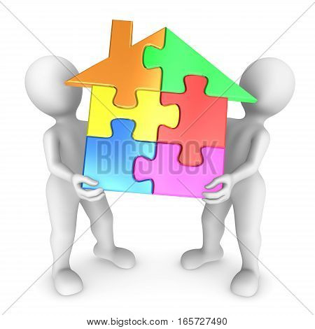 3D People Holds The House Puzzle