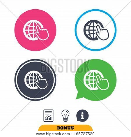 Internet sign icon. World wide web symbol. Cursor pointer. Report document, information sign and light bulb icons. Vector