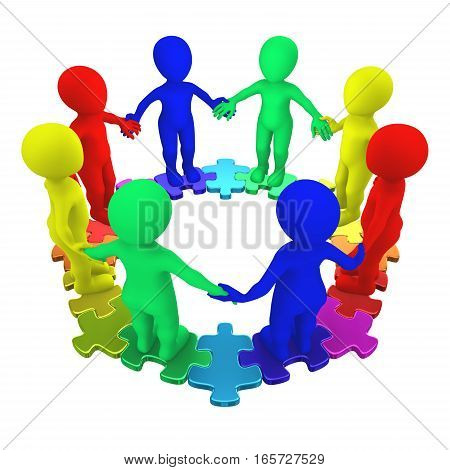 3D Colored People And Circle Puzzle