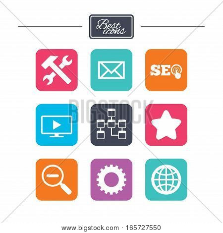 Internet, seo icons. Repair, database and star signs. Mail, settings and monitoring symbols. Colorful flat square buttons with icons. Vector