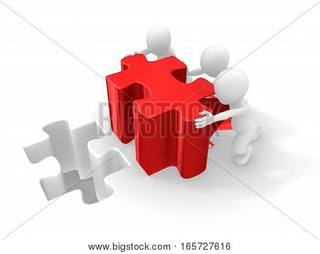 3D People Working With Big Red Puzzle