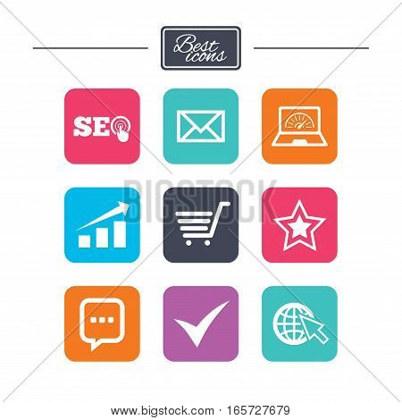 Internet, seo icons. Tick, online shopping and chart signs. Bandwidth, mobile device and chat symbols. Colorful flat square buttons with icons. Vector