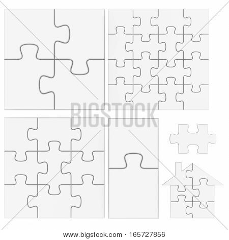 Empty blank white puzzle. 3d rendered illustration.