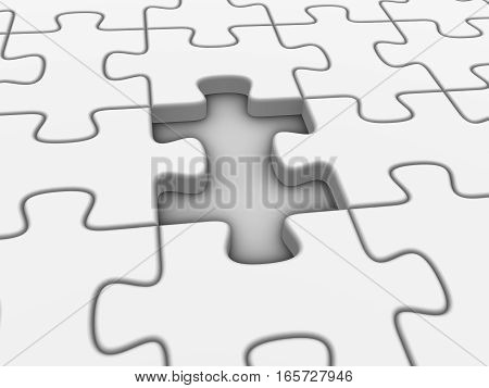 Missing white puzzle piece. 3d rendered illustration.