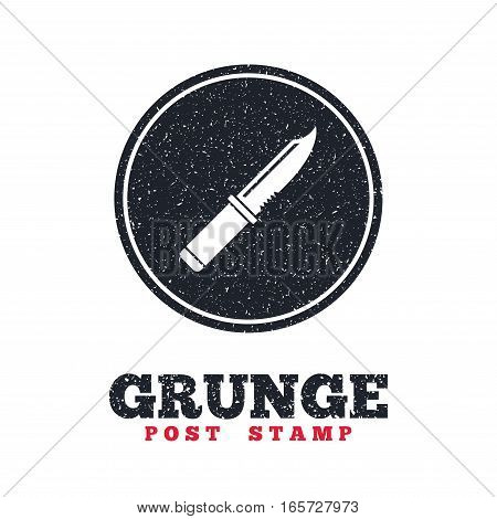 Grunge post stamp. Circle banner or label. Knife sign icon. Edged weapons symbol. Stab or cut. Hunting equipment. Dirty textured web button. Vector