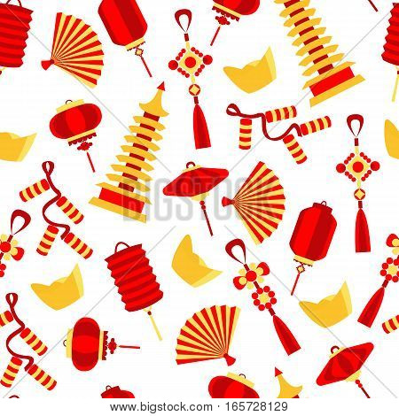 Vector seamlees pattern of chinese red and gold symbol