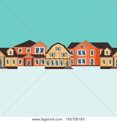 Vector seamless pattern of color houses line set