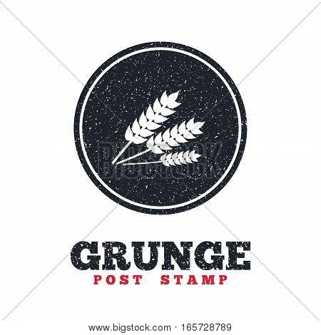 Grunge post stamp. Circle banner or label. Agricultural sign icon. Gluten free or No gluten symbol. Dirty textured web button. Vector
