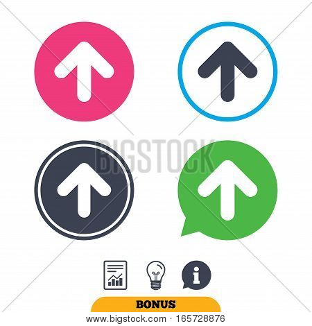 Upload sign icon. Upload button. Load symbol. Report document, information sign and light bulb icons. Vector