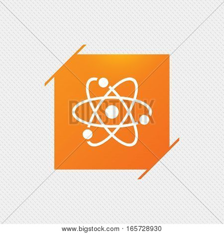 Atom sign icon. Atom part symbol. Orange square label on pattern. Vector