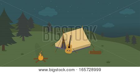 Camping at Night Concept, Forest Landscape with Camping Tend and campfire
