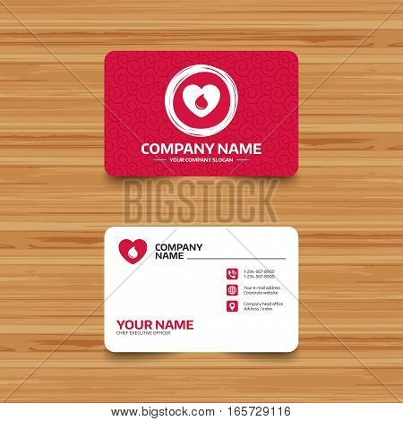 Business card template with texture. Blood donation sign icon. Medical donation. Heart with blood drop. Phone, web and location icons. Visiting card  Vector